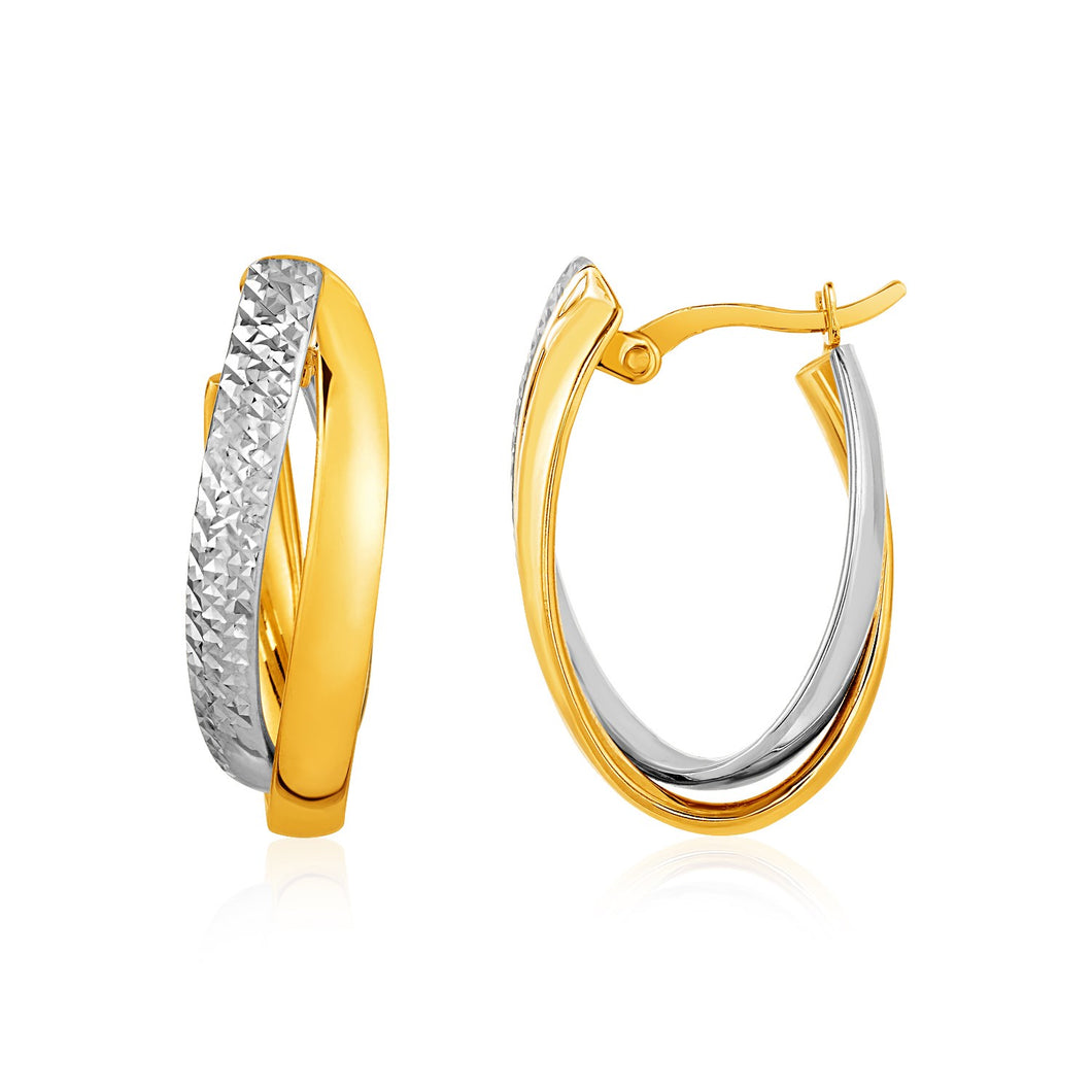 Two-Tone Textured Double Oval Hoop Earrings in 10k Yellow and White Gold