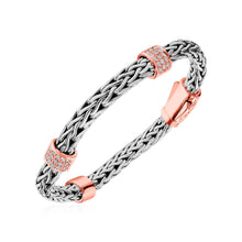 Load image into Gallery viewer, Woven Bracelet with Rose Finish Accents and White Sapphires in Sterling Silver