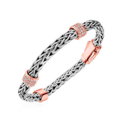 Woven Bracelet with Rose Finish Accents and White Sapphires in Sterling Silver