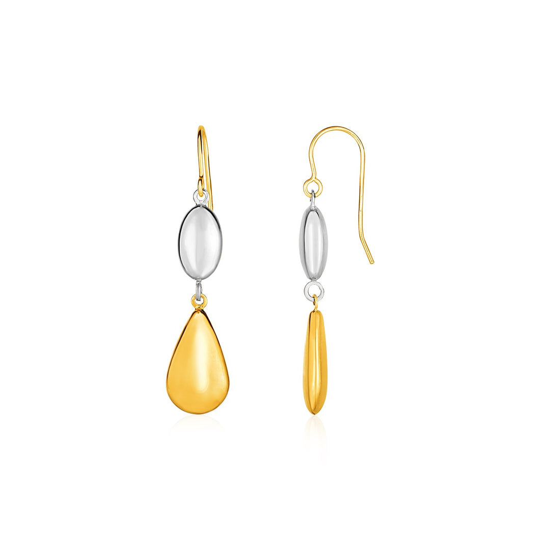 Two-Tone Puffed Oval and Teardrop Drop Earrings in 10k Yellow and White Gold