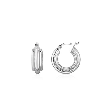 Three-Row Graduated Round Hoop Earrings in Sterling Silver