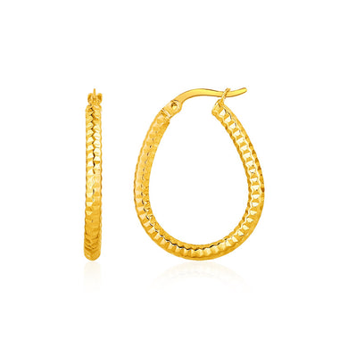 Textured Oval Hoop Earrings in 10k Yellow Gold