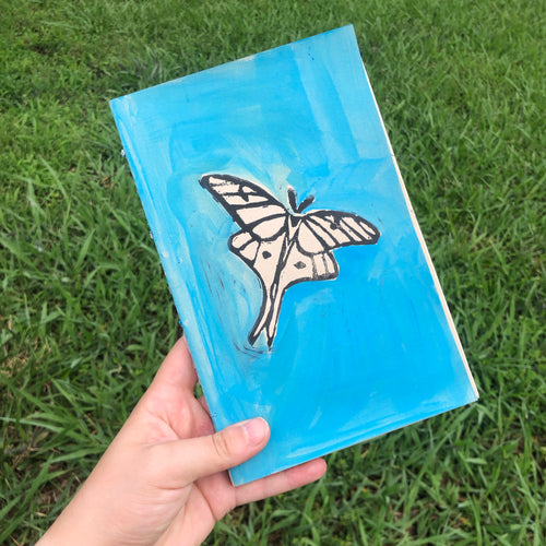 Blue Moth Print Notebook