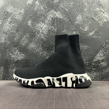 "Carica l'immagine nel visualizzatore di Gallery, Balenciaga ""Speed Trainer Knit"" Black/White Sole Logo - Luxury Aparell"