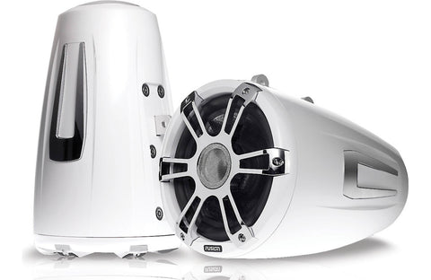 "Fusion SG-FT88SPWC 8.8"" 330 Watt Coaxial Wake Tower Sports Chrome & White Marine Speakers with LEDs"