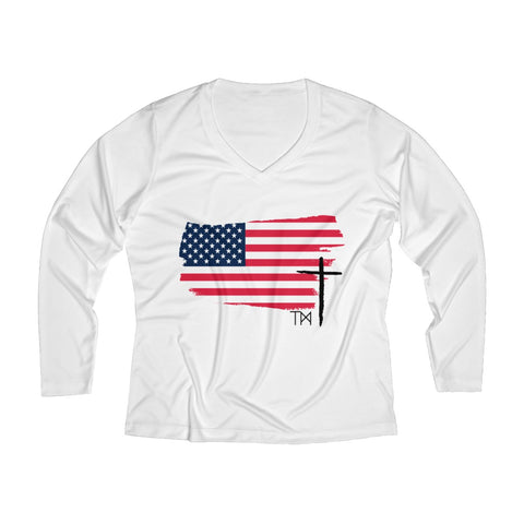 Women's Long Sleeve Performance V-neck Tee | LIVESWOLL
