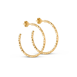 Hoops Diamond Cut Large - Earrings