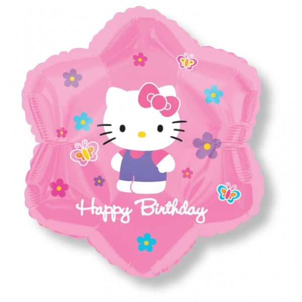 Hello Kitty Flowers Butterflies Birthday Balloon