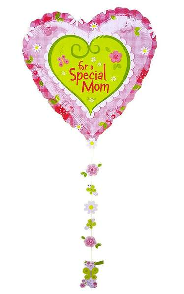 34'' Heart 'For a Special Mom' Foil Balloon with Ribbon
