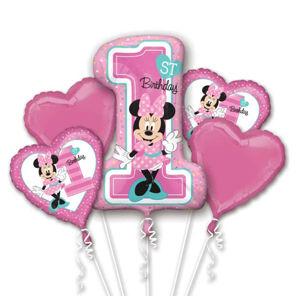 Minnie Mouse 1st Birthday Balloons Bouquet 5pc