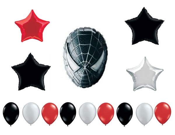 Black Spider-Man Birthday Balloons 14pc