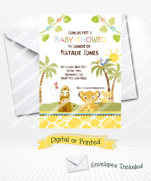 Cute Simba Lion King Baby Shower Invitations