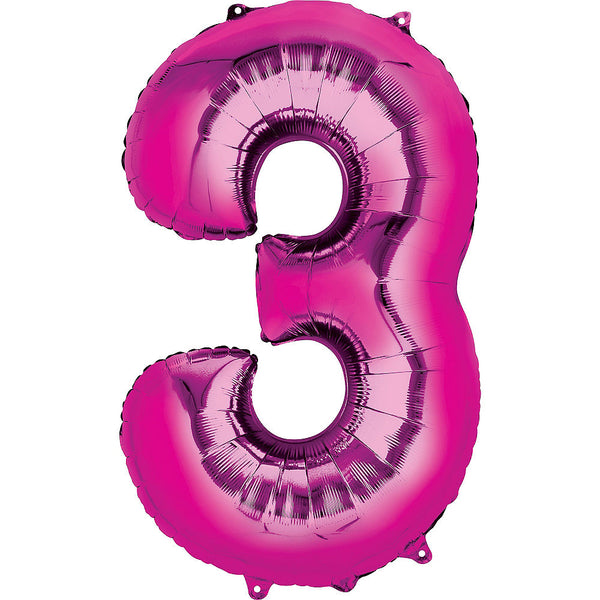 Giant Hot Pink Number 3 Balloon