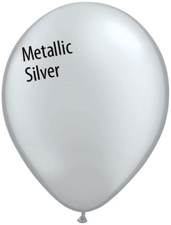 11in Metallic Silver Latex Balloons