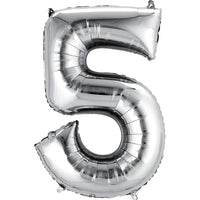 Giant Silver Number 5 Balloon