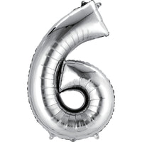 Giant Silver Number 6 Balloon
