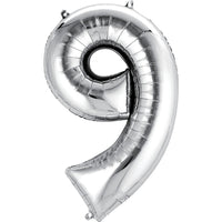Giant Silver Number 9 Balloon
