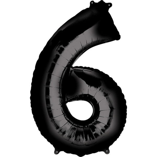 Giant Black Number 6 Balloon
