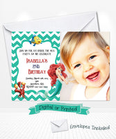 Little Mermaid Ariel Birthday Chevron Invitations