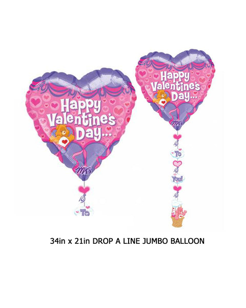 Care Bear Valentine's Day Drop a Line Balloon