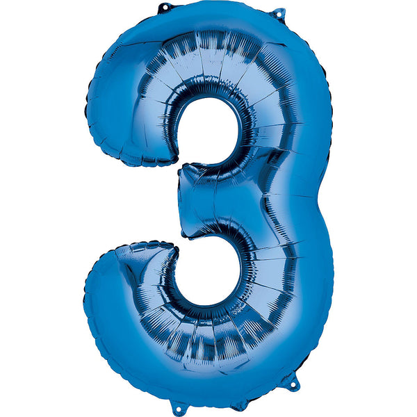 Giant Blue Number 3 Balloon