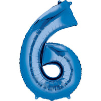 Giant Blue Number 6 Balloon