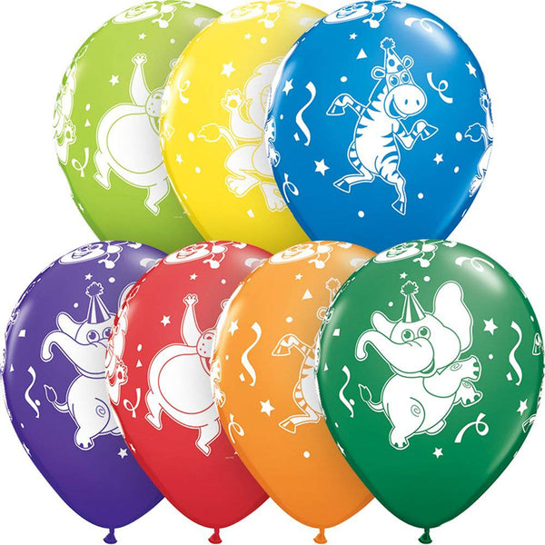 "11"" Party Animals Elephant Lion Money Assorted Color Latex Balloons"