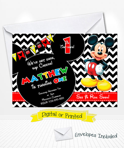 Chevron Mickey Mouse Birthday Invitation
