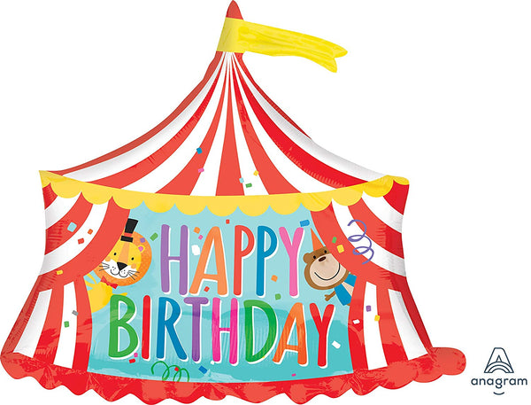 Circus Tent Happy Birthday Balloon