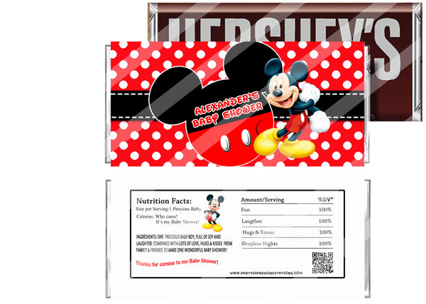 Mickey Mouse Baby Shower Candy Bar Wrapper