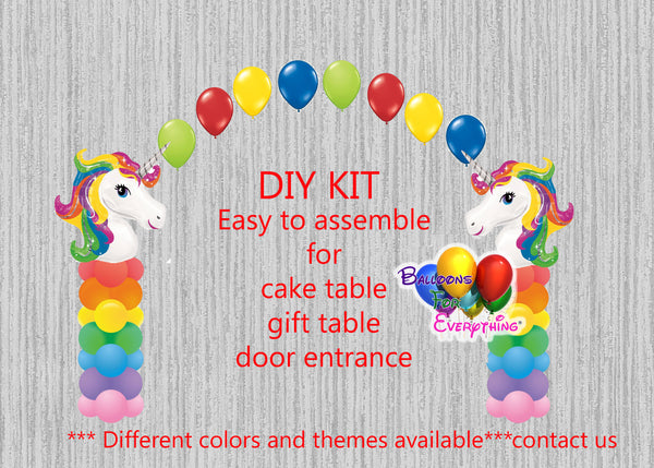 Unicorn Birthday Balloon Columns with Arch Party Decorations