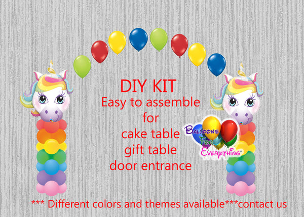 Unicorn Birthday Party Balloon Columns Arch Decorations