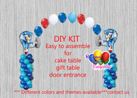 Sonic the Hedgehog Birthday Balloon Arch, Columns Party Decor, Cake Table, DIY KIT Supplies