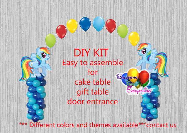 My Little Pony Rainbow Dash Birthday Balloon Arch Columns, Cake Table, Gift Table, DIY KIT Party