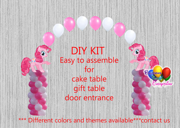 My Little Pony Pinkie Pie Birthday Balloon Arch Columns, Cake Table, Gift Table, DIY KIT Party