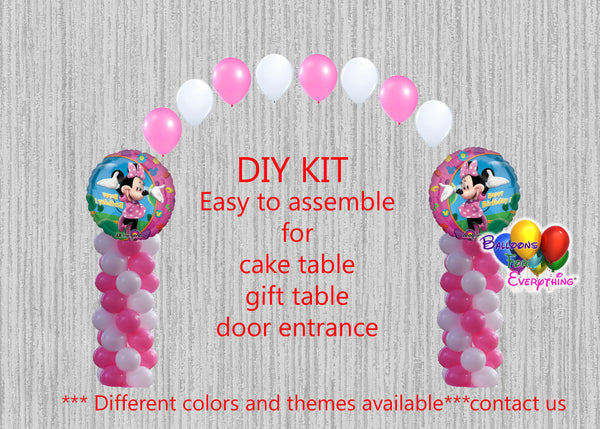Pink Minnie Mouse Birthday Balloon Arch Columns, Cake Table, Gift Table, DIY KIT Party
