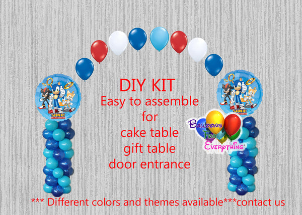 Sega Sonic Hedgehog Balloon Arch Columns, Cake Table, Gift Table, DIY KIT Party Supplies