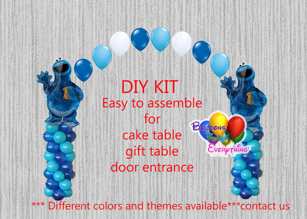 Cookie Monster Birthday Balloon Arch Columns, Sesame Street Cake Table, Gift Table, DIY KIT Party