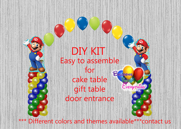 Super Mario Brothers Birthday Balloon Arch Columns, Cake Table, Gift Table, DIY KIT Party