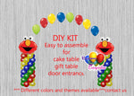 Elmo Birthday Balloon Arch Columns, Sesame Street Cake Table, Gift Table, DIY KIT Party Supplies