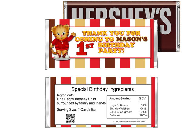 Daniel Tiger's Neighborhood Birthday Candy Bar Wrappers