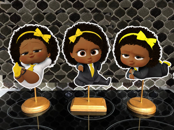 Afro American Yellow Boss Baby Girl Party Centerpieces