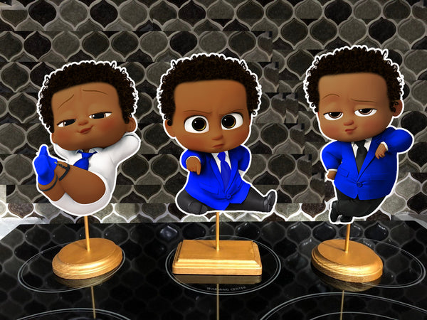 African American Boss Baby Party Centerpieces