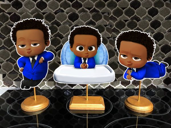 Afro Dark Skinned Blue Boss Baby Birthday Party Centerpieces