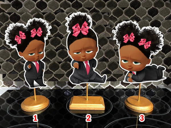 African American Boss Baby Girl Birthday Centerpieces 2 puffs