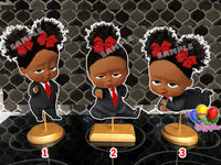 Red Bow Afro American Boss Baby Girl Centerpieces