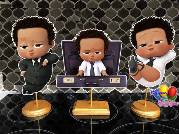 Boss Baby Light Skinned Baby shower centerpieces