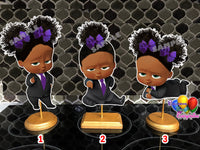 Purple Boss baby girl party centerpieces