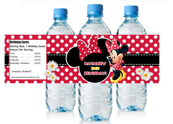 Red Minnie Mouse Birthday Water Bottle Labels