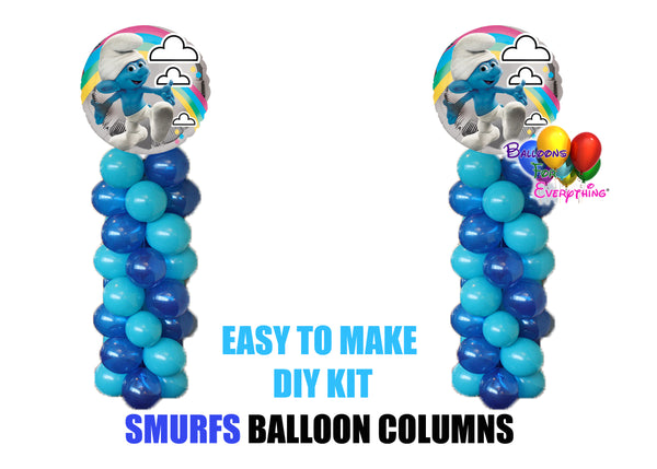 Smurfs Birthday Balloon Columns